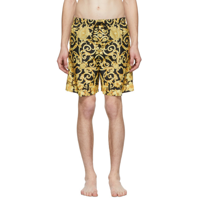 Photo: Versace Underwear Black and Gold Barocco Print Swim Shorts