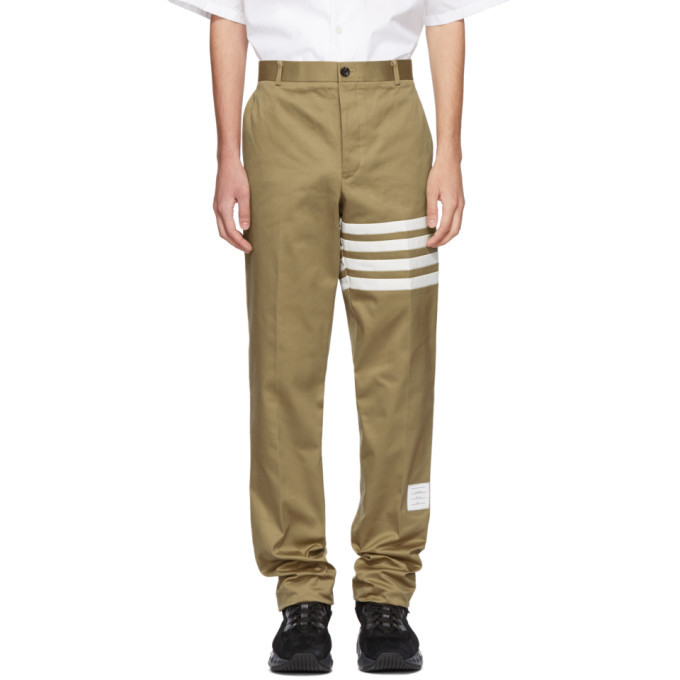Photo: Thom Browne Beige Seamed Four Bar Unconstructed Chino Trousers