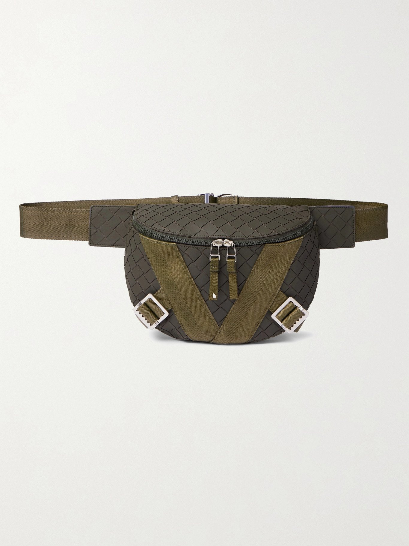Photo: BOTTEGA VENETA - Webbing-Trimmed Intrecciato Rubber Belt Bag - Green