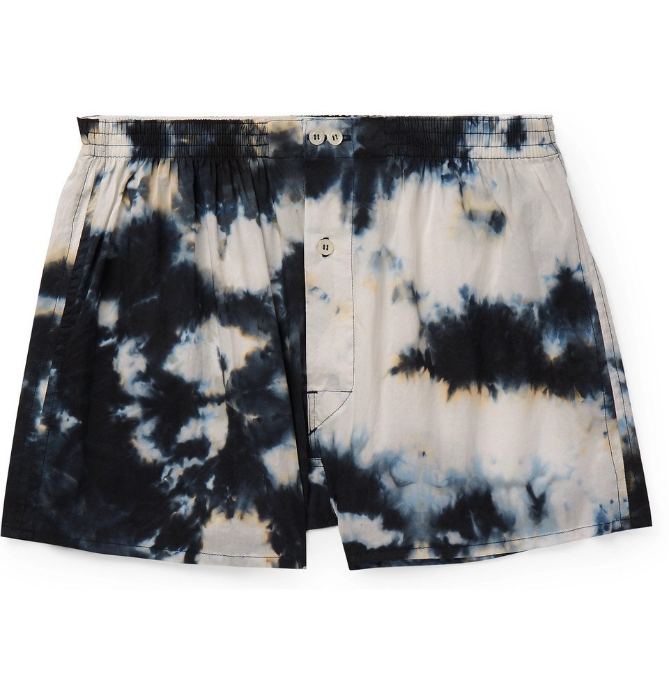 Photo: Anonymous Ism - Tie-Dyed Cotton Boxer Shorts - Navy