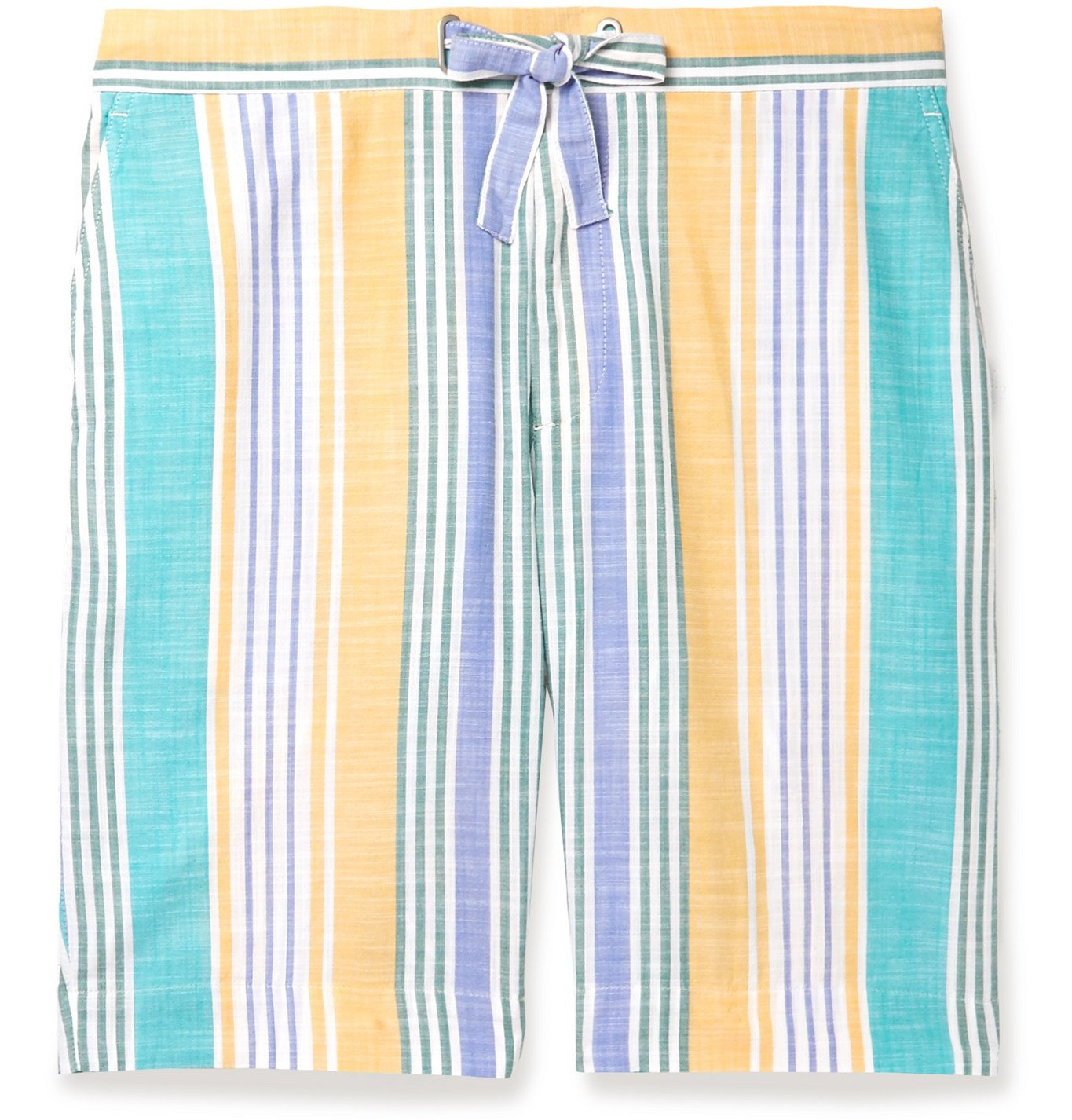 Photo: Incotex - Striped Cotton Drawstring Shorts - Blue