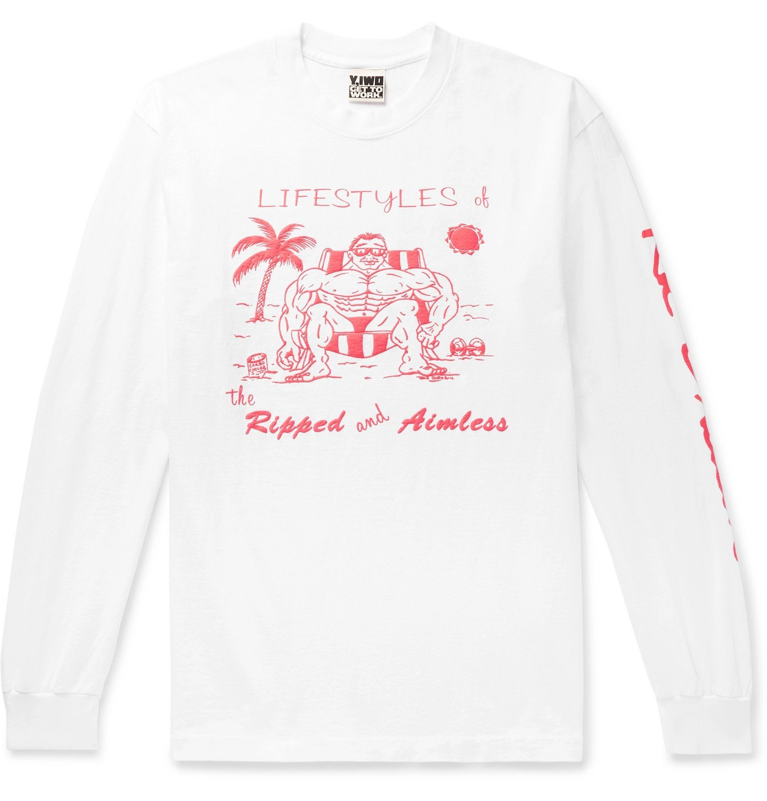 Photo: Y,IWO - Lifestyles of the Ripped and Aimless Printed Cotton-Jersey T-Shirt - White