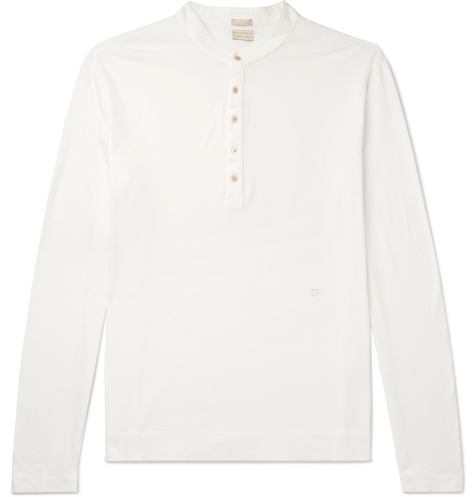 Photo: Massimo Alba - Hawai Watercolour-Dyed Cotton and Cashmere-Blend Henley T-Shirt - White