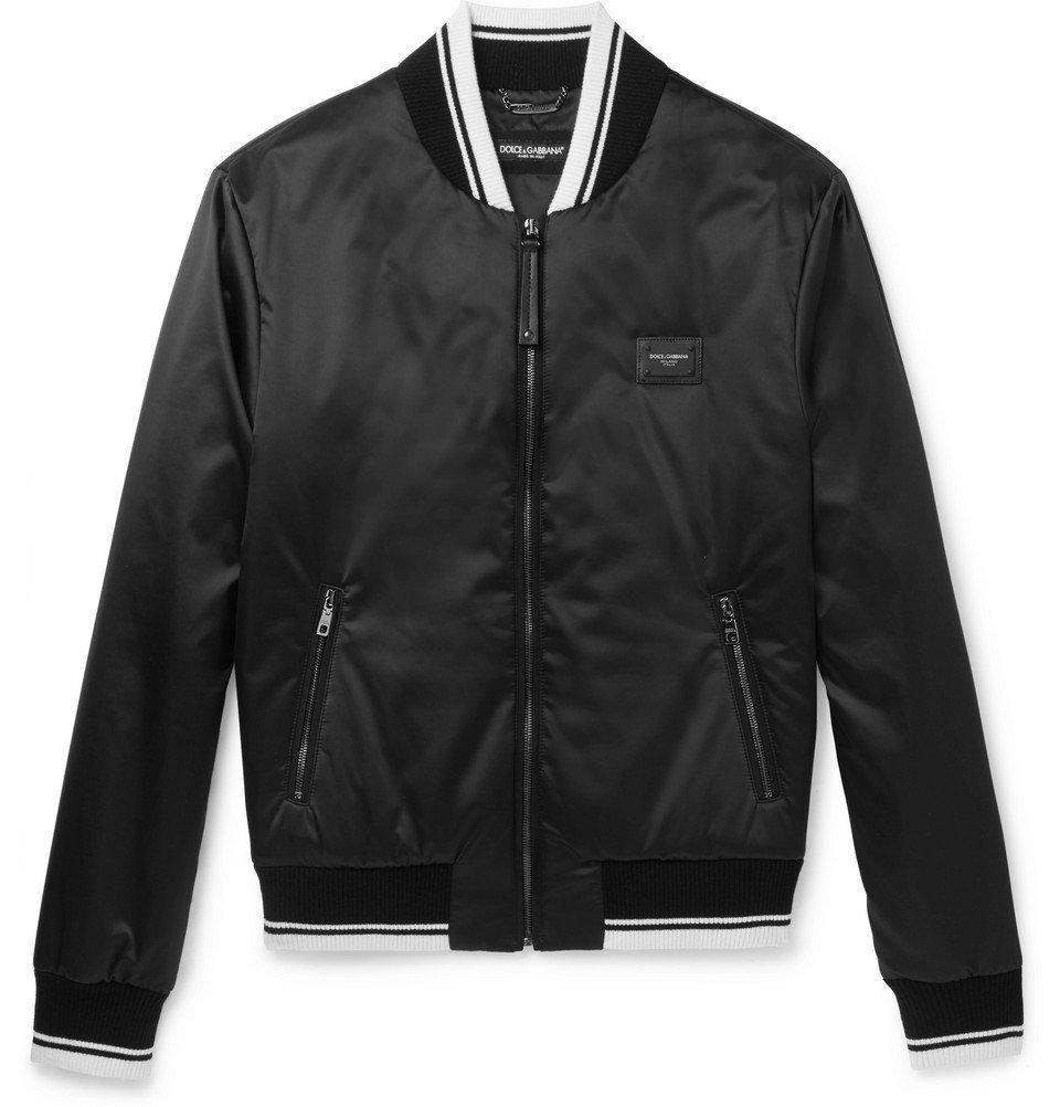 Photo: Dolce & Gabbana - Stripe-Trimmed Shell Bomber Jacket - Men - Black