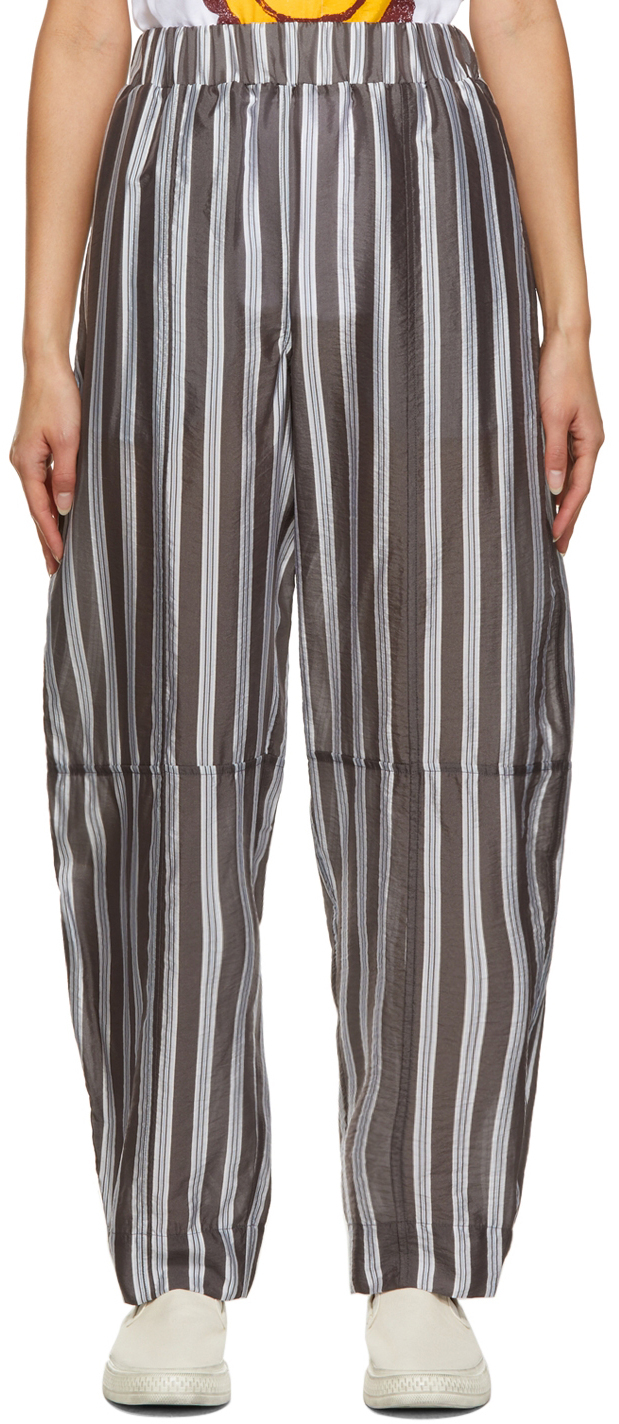 Photo: GANNI Grey Lightweight Stripe Pants