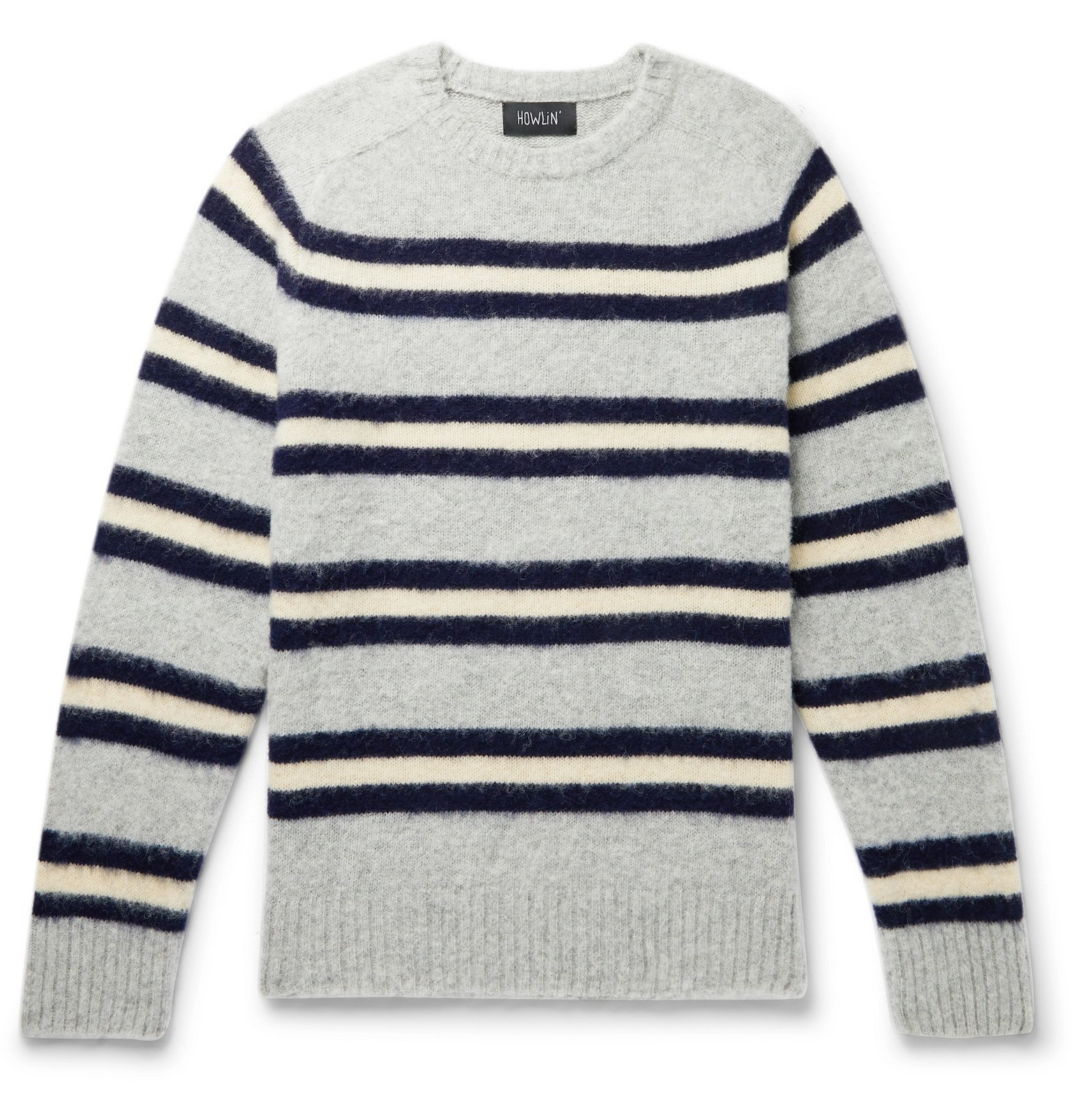Photo: Howlin' - Isle of Magic Striped Brushed-Wool Sweater - Gray