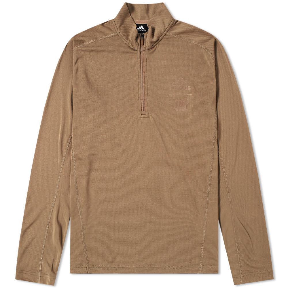 Adidas x Undefeated Long Sleeve Half Zip TR Tee Brown