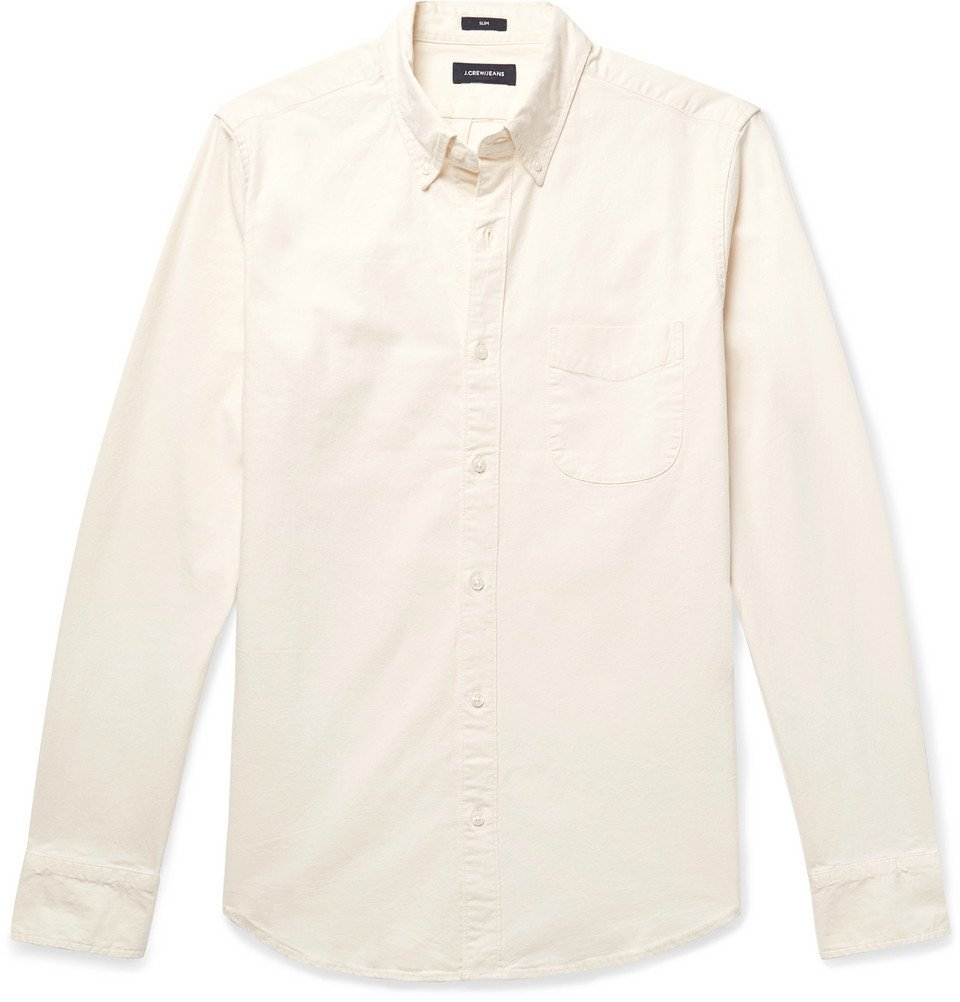 Photo: J.Crew - Slim-Fit Button-Down Collar Stretch-Cotton Chambray Shirt - Beige