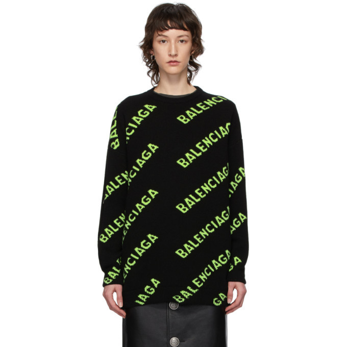 Photo: Balenciaga Black and Green All Over Logo Sweater