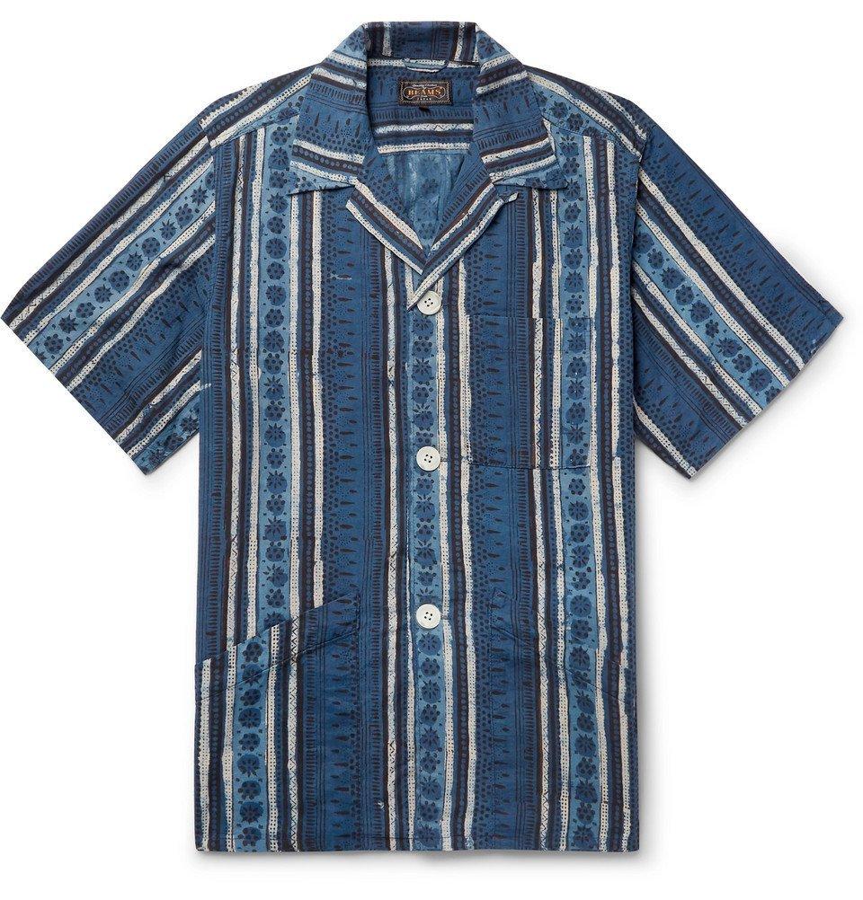 Photo: Beams Plus - Camp-Collar Printed Cotton Shirt - Storm blue