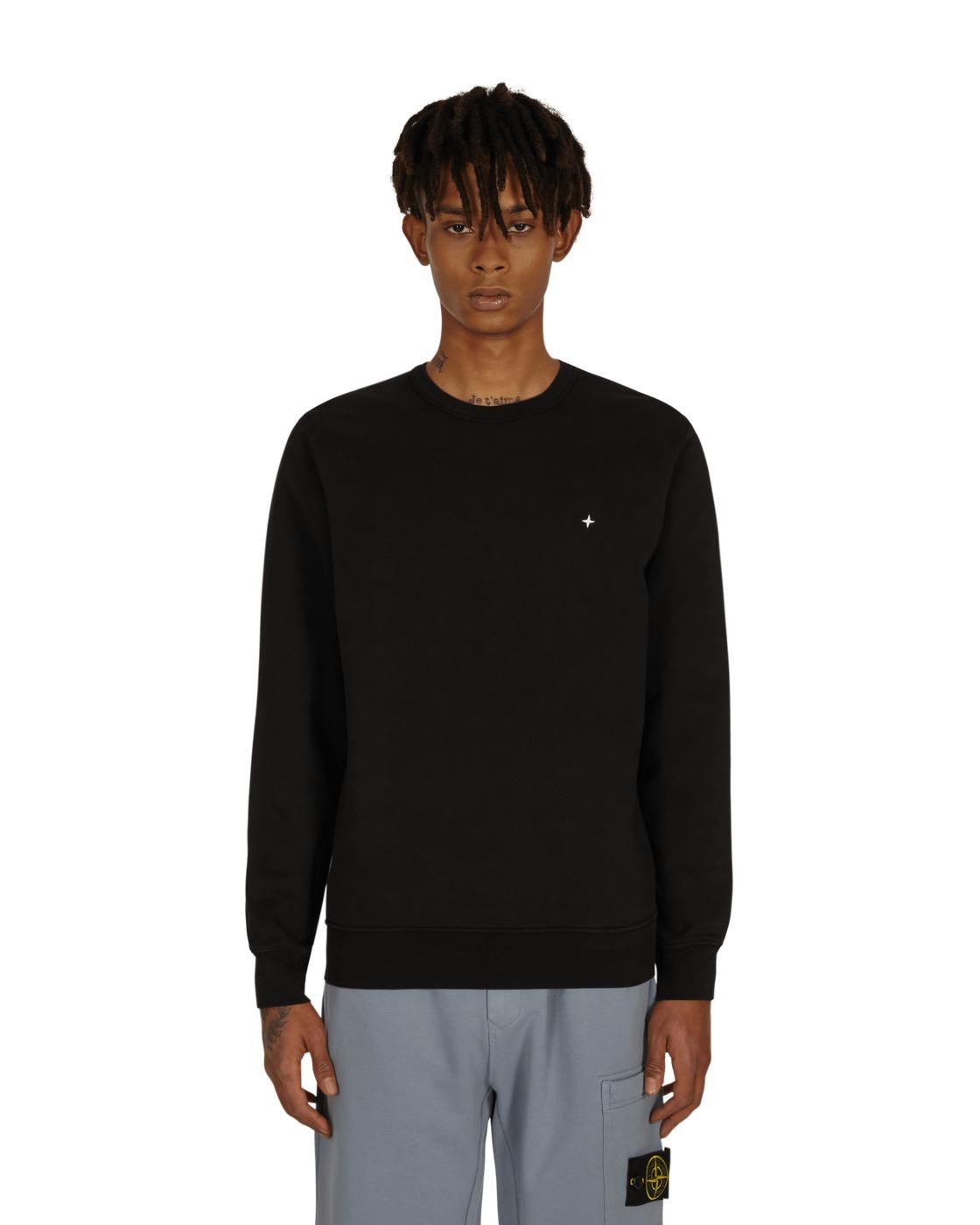 Stone Island Logo Crewneck Sweatshirt Black