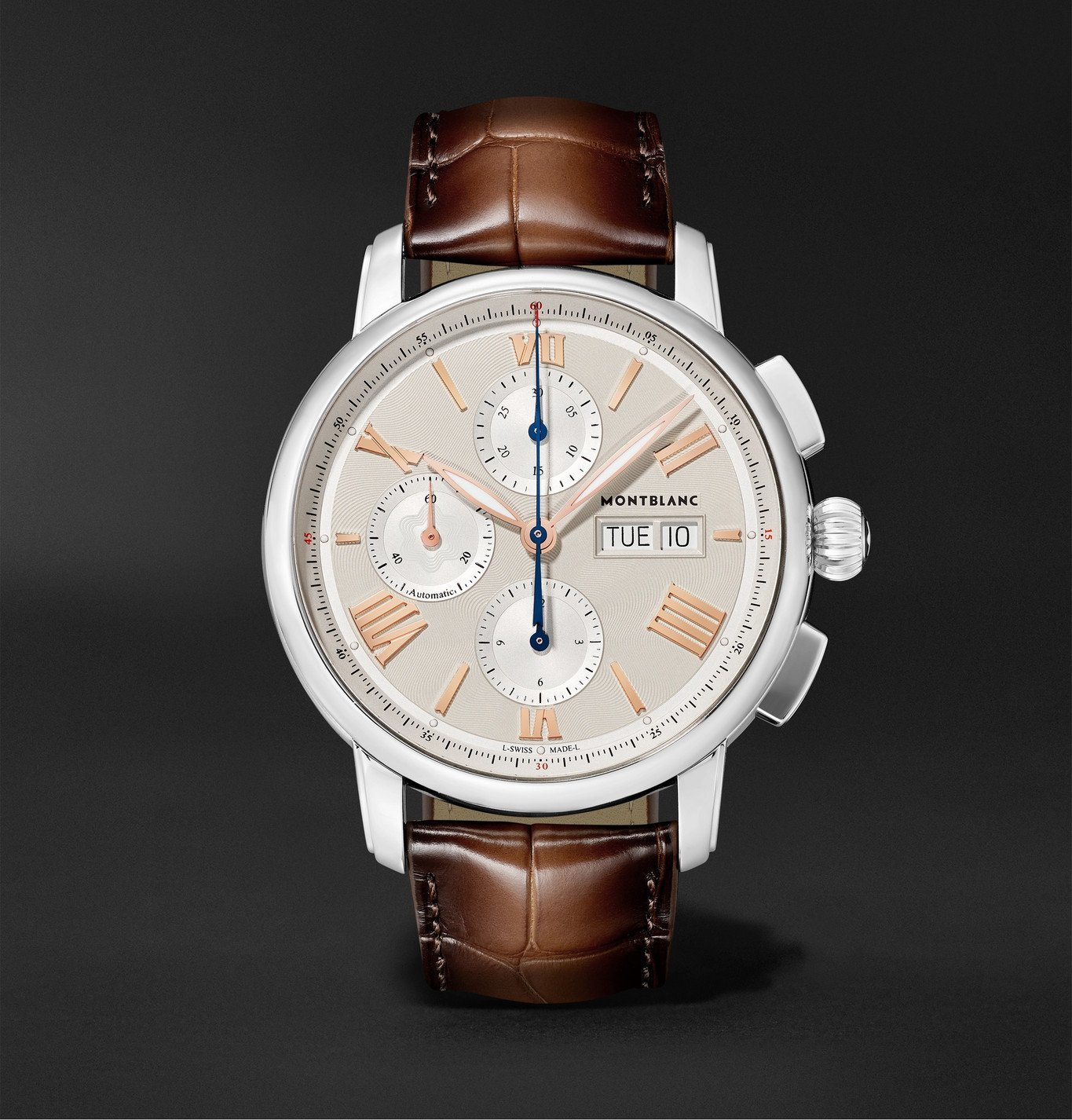 Photo: Montblanc - Star Legacy Automatic Chronograph 43mm Stainless Steel and Alligator Watch, Ref. No. 126080 - White
