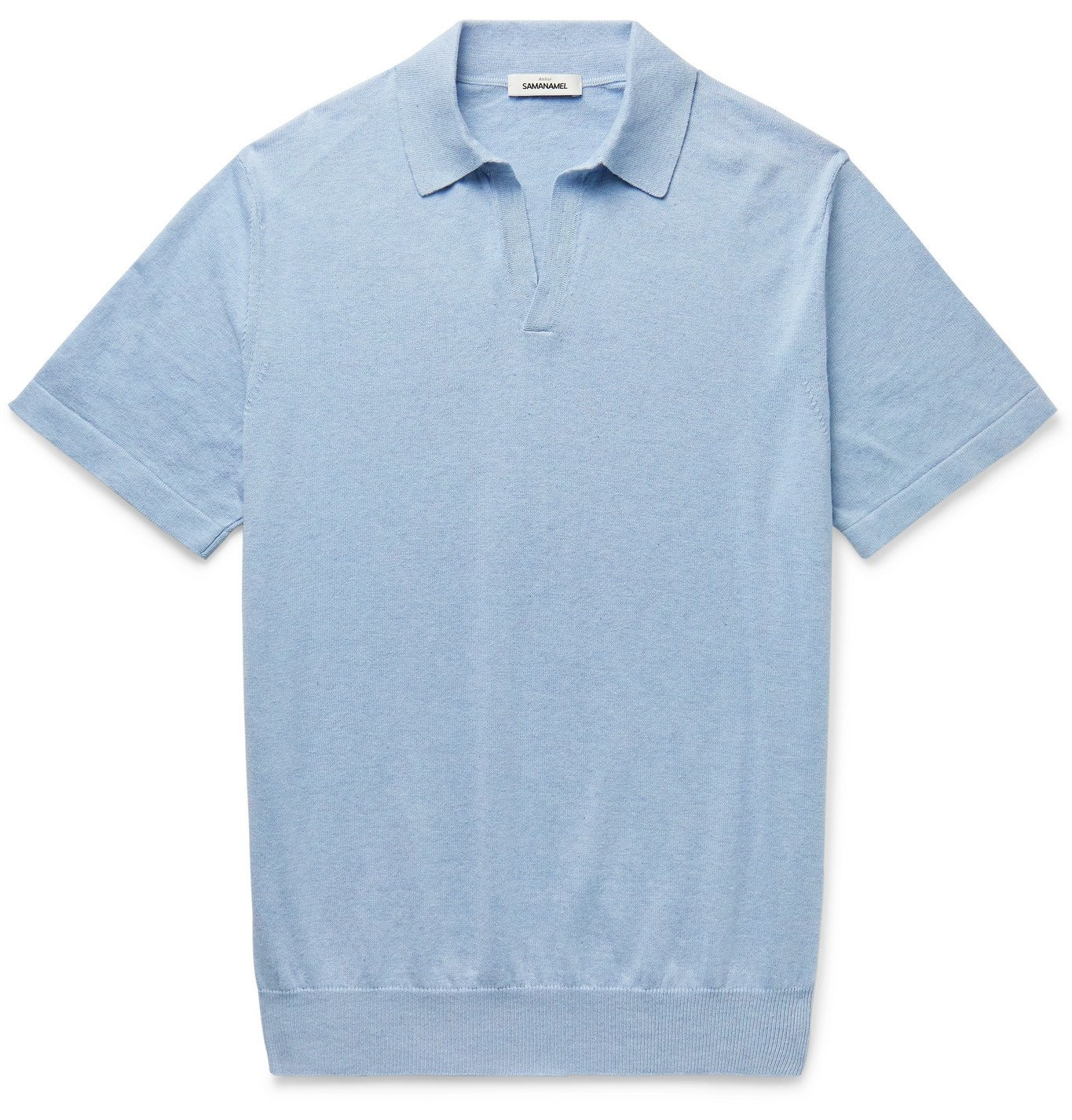 Photo: Saman Amel - Slim-Fit Cotton Polo Shirt - Blue