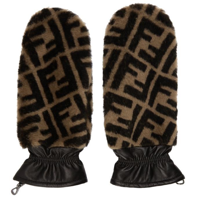 Photo: Fendi Black and Brown Fur Forever Fendi Gloves