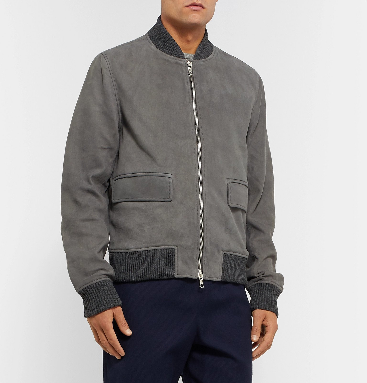 Officine Generale - Floyd Slim-Fit Suede Bomber Jacket - Gray