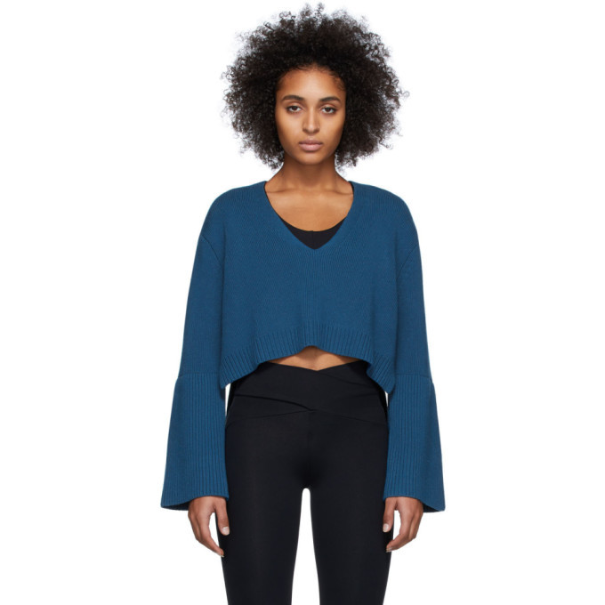 Photo: Live the Process Blue High-Low V-Neck Sweater