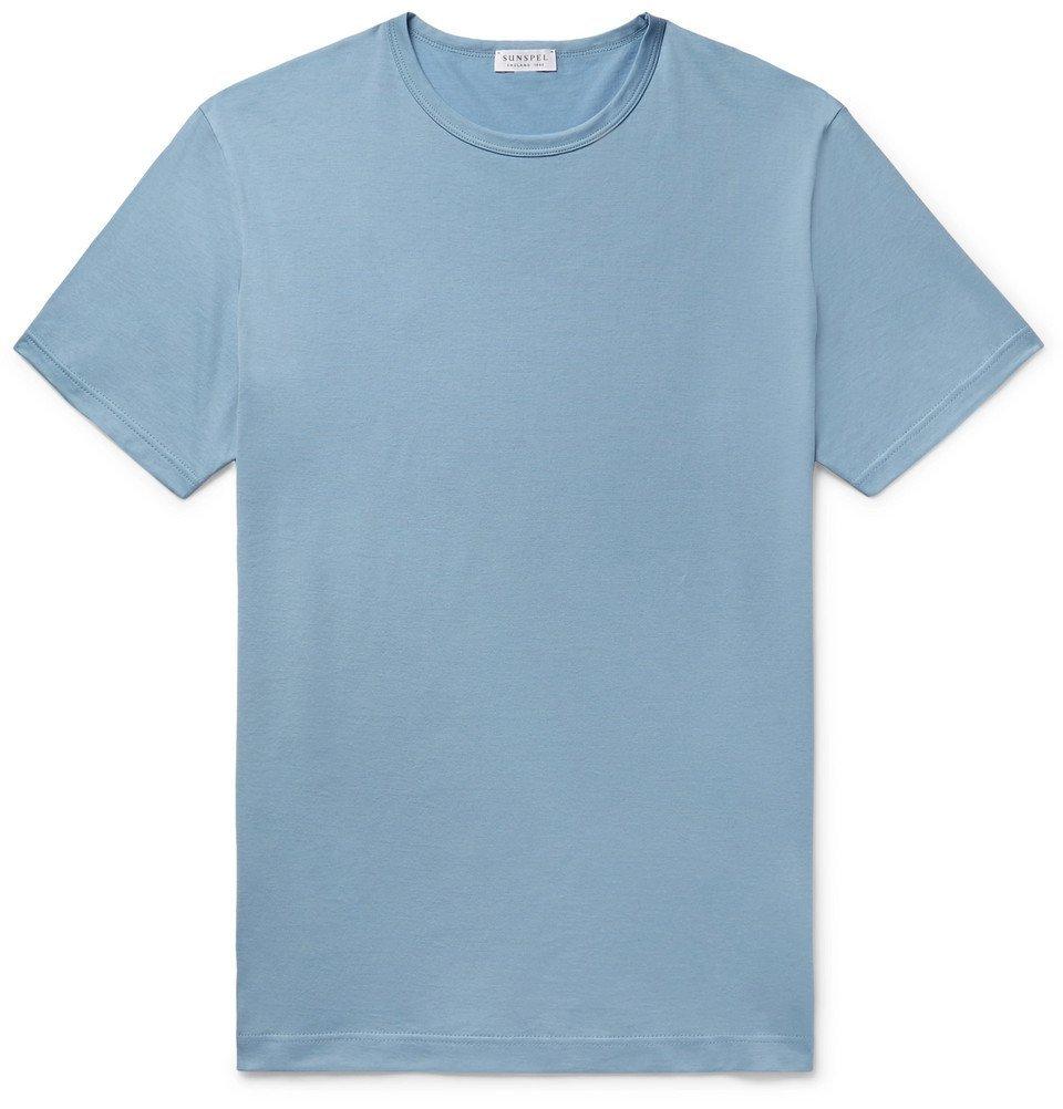Sunspel - Pima Cotton-Jersey T-Shirt - Blue