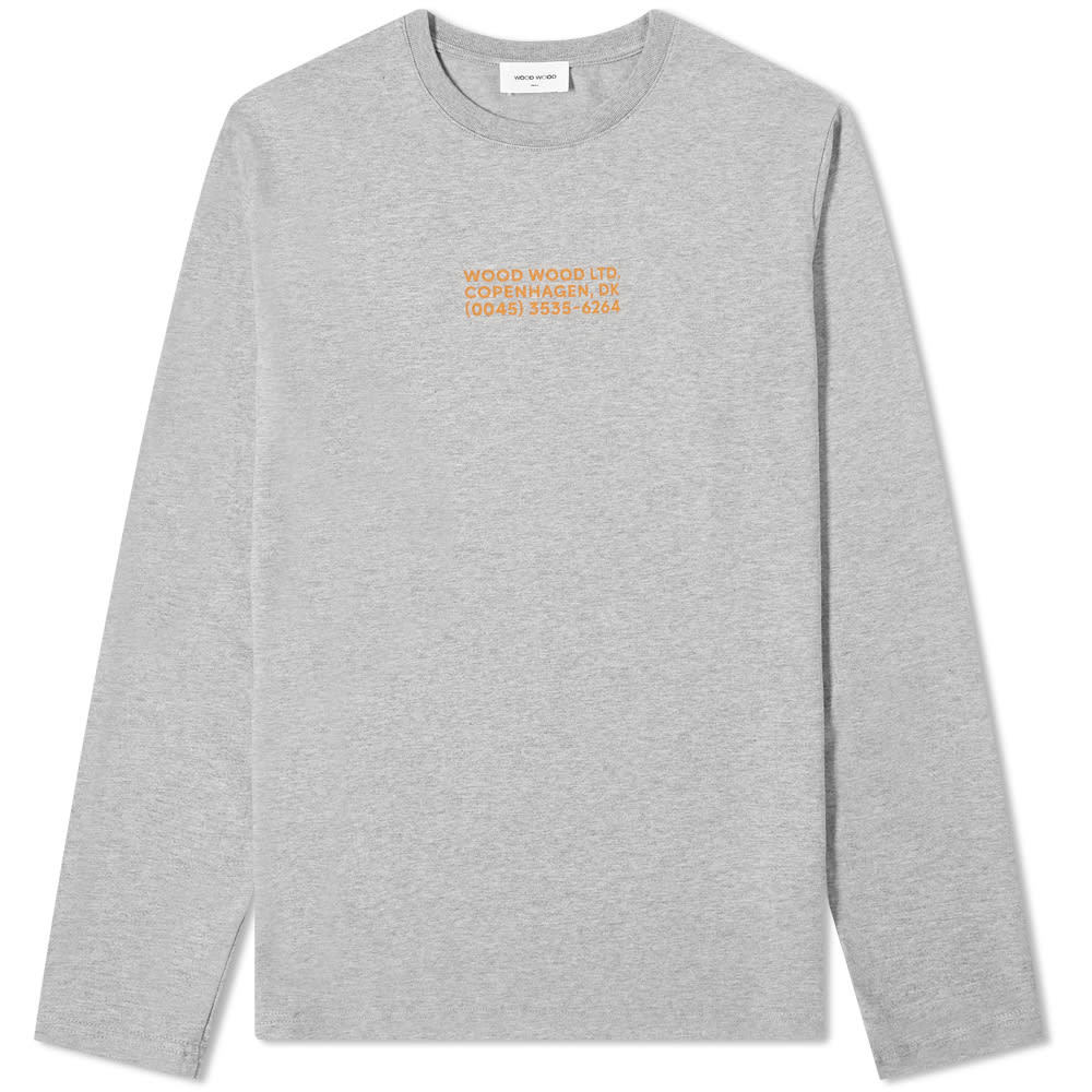 Photo: Wood Wood Long Sleeve Peter Info Logo Tee