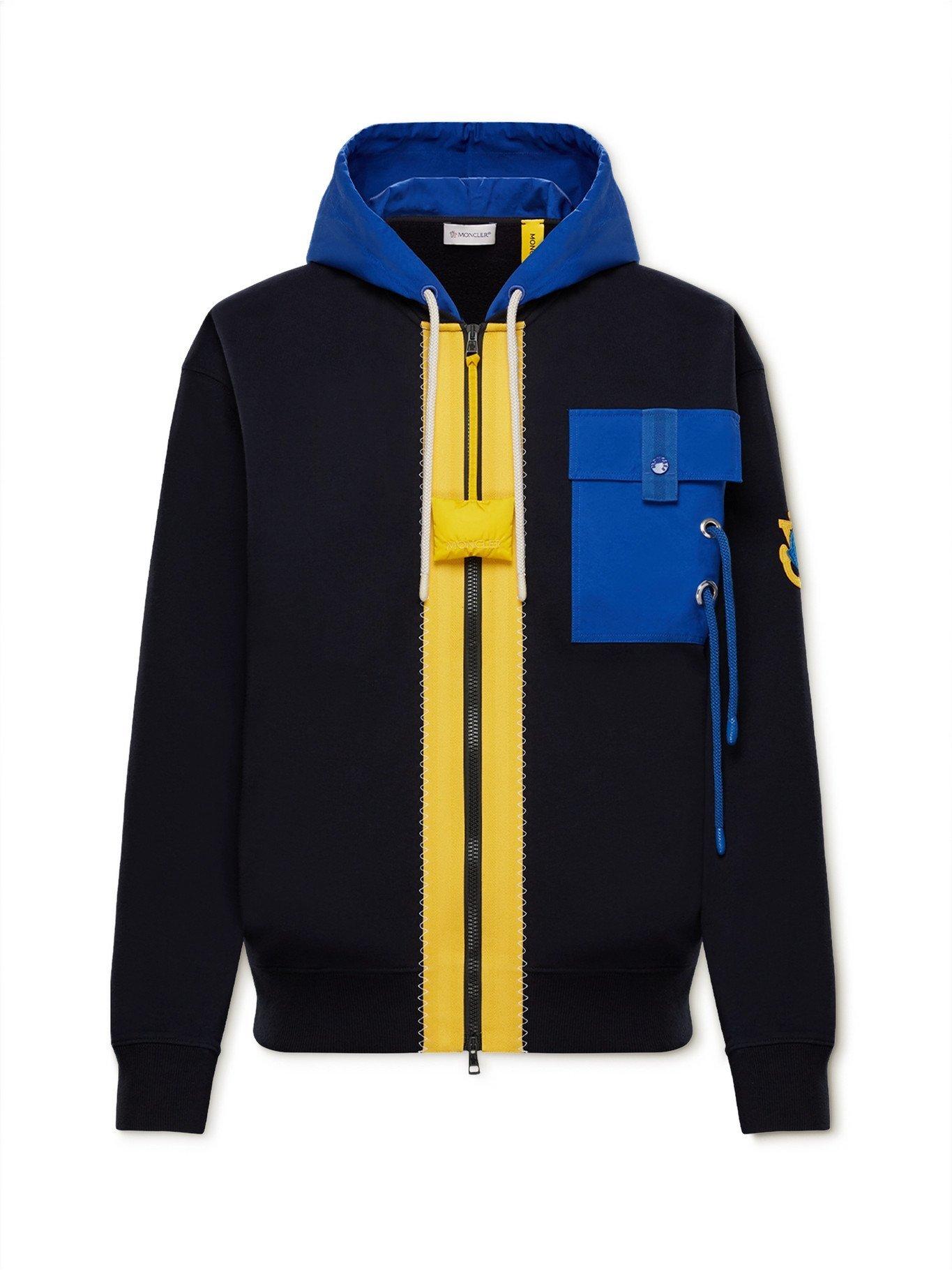 MONCLER GENIUS - 1 Moncler JW Anderson Canvas-Trimmed Cotton-Jersey Zip-Up Hoodie - Blue