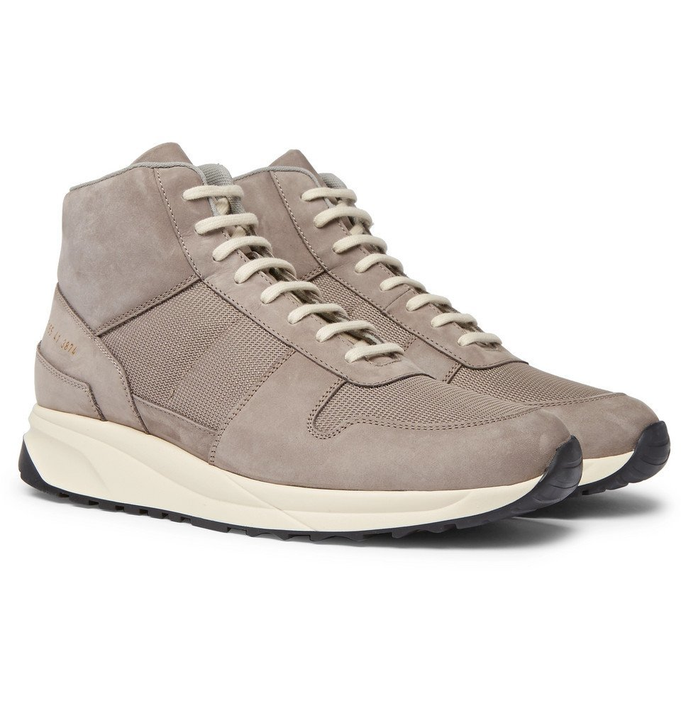 Common Projects - Track Vintage Nubuck and Mesh High-Top Sneakers - Men - Gray
