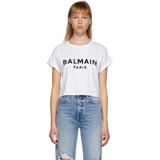 Photo: Balmain White Logo Cropped T-Shirt