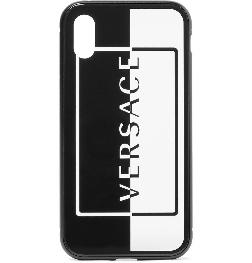 Photo: Versace - Logo-Print Acetate iPhone X and XS Case - Black