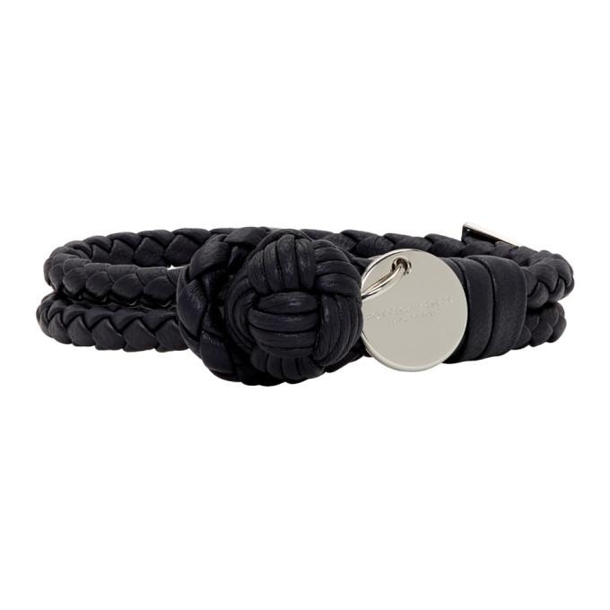 Photo: Bottega Veneta Navy Intrecciato Knot Bracelet