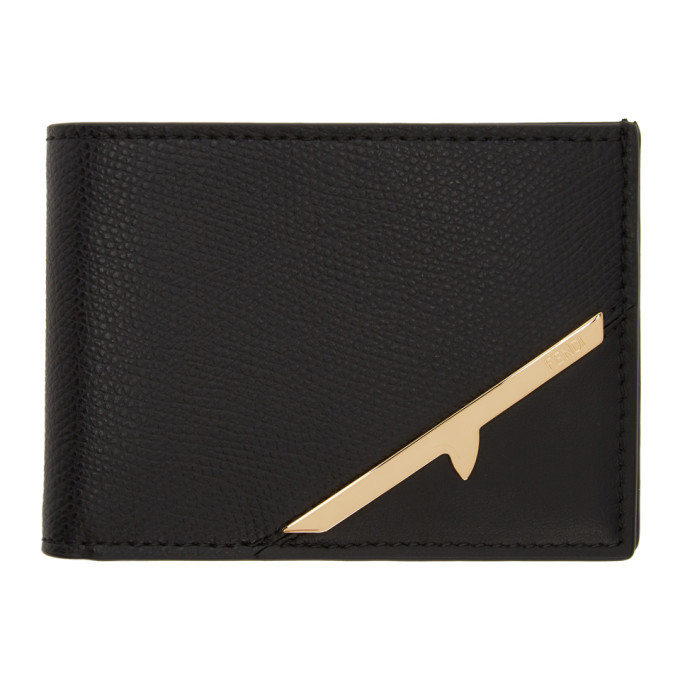 Photo: Fendi Black and Gold Corner Bugs Bifold Wallet