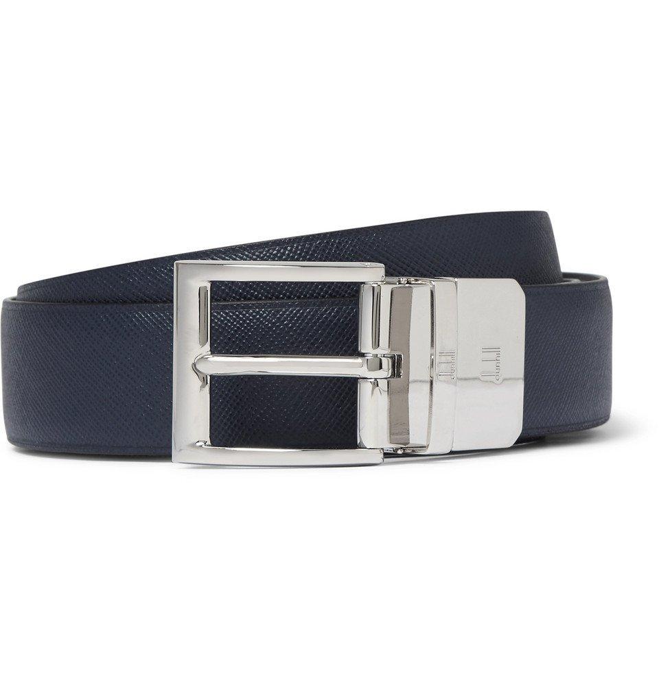 Dunhill - 3cm Blue and Black Reversible Leather Belt - Men - Navy