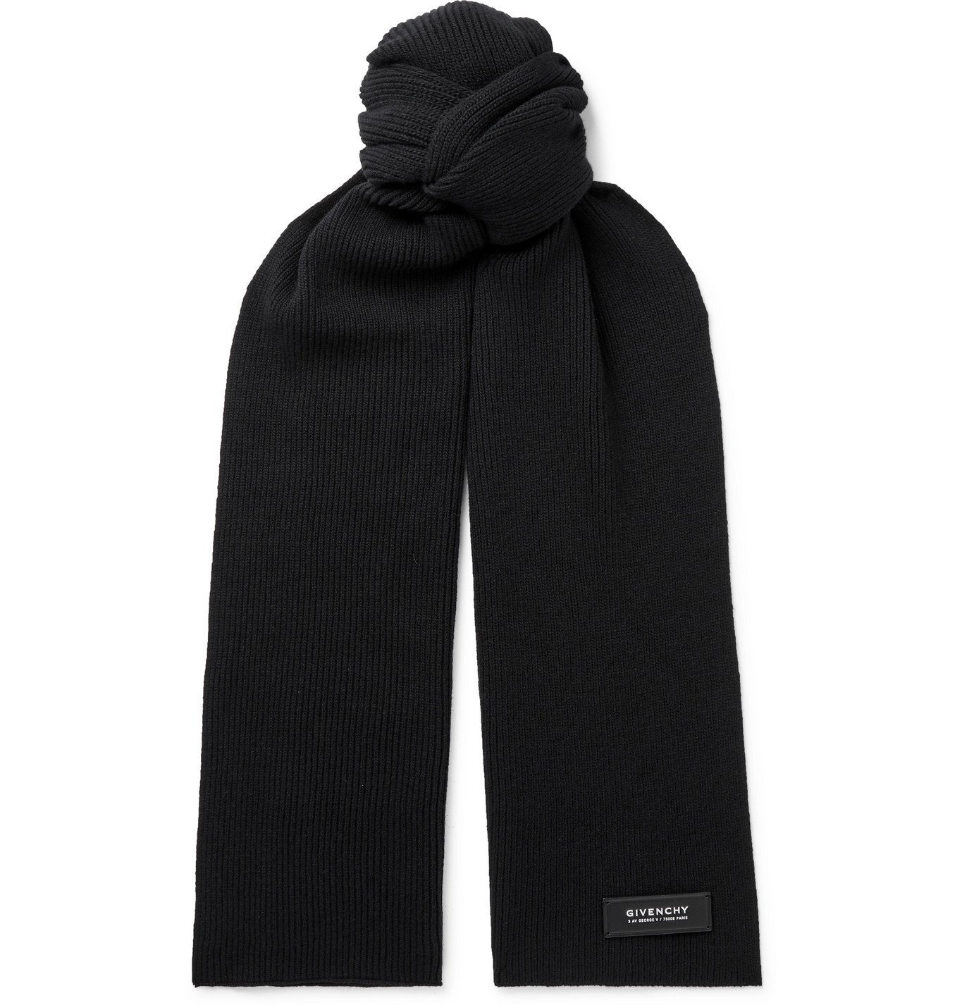 Photo: GIVENCHY - Logo-Detailed Ribbed Wool and Cashmere-Blend Scarf - Black