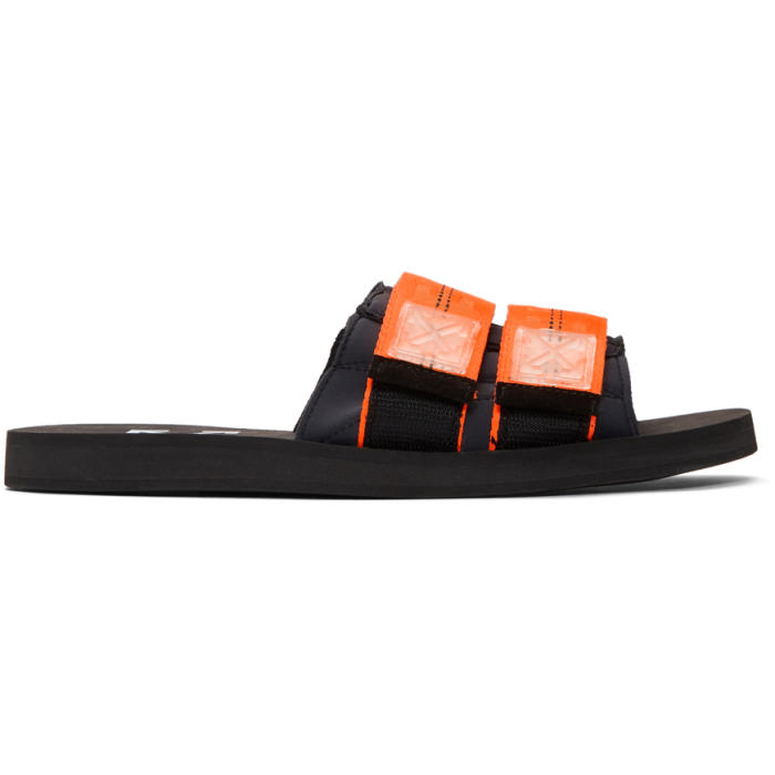 off white black and orange industrial slides off white