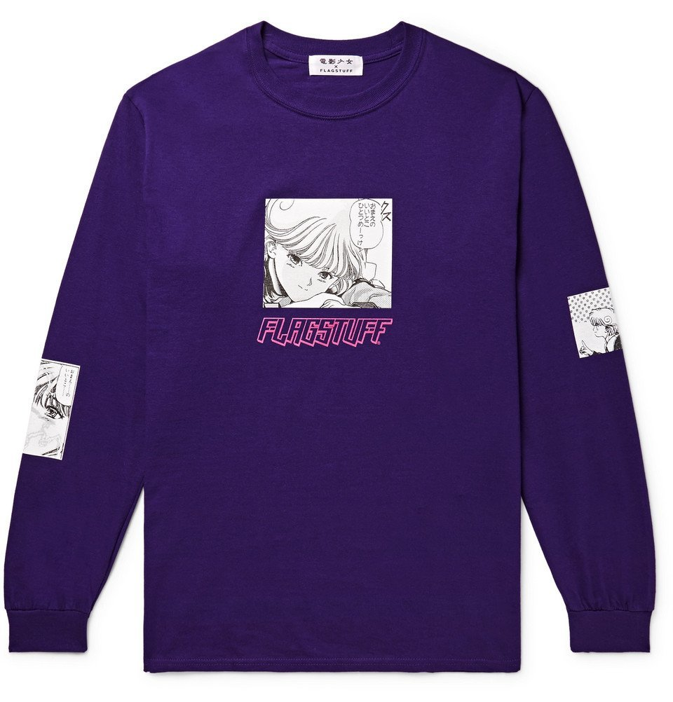 Photo: Flagstuff - Video Girl Printed Cotton-Jersey T-Shirt - Men - Dark purple