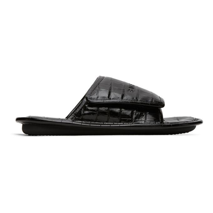 Photo: Balenciaga Black Croc Slides