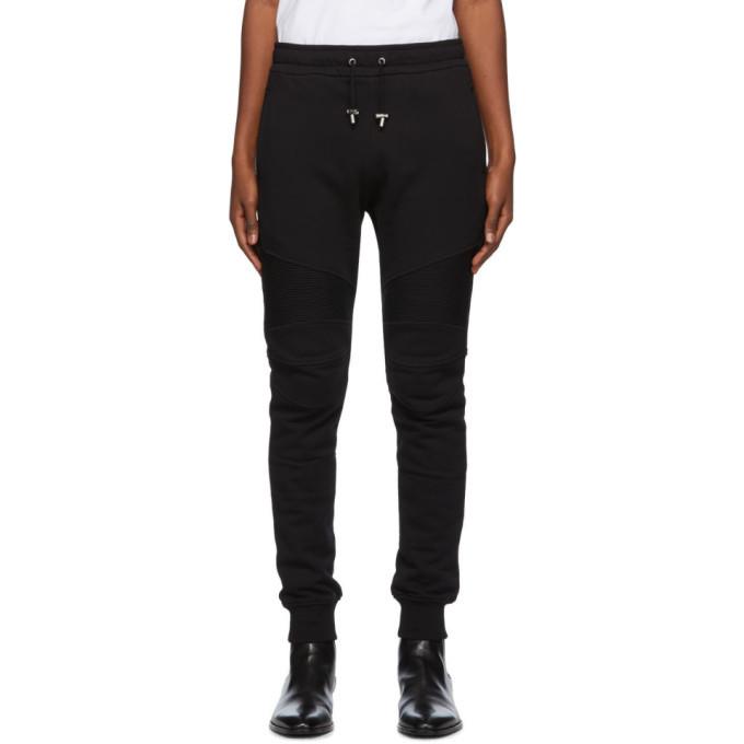 Photo: Balmain Black Foil Ribbed Lounge Pants