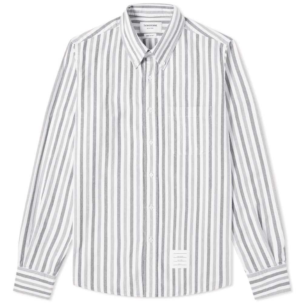 Photo: Thom Browne University Stripe Button Down Flannel Shirt