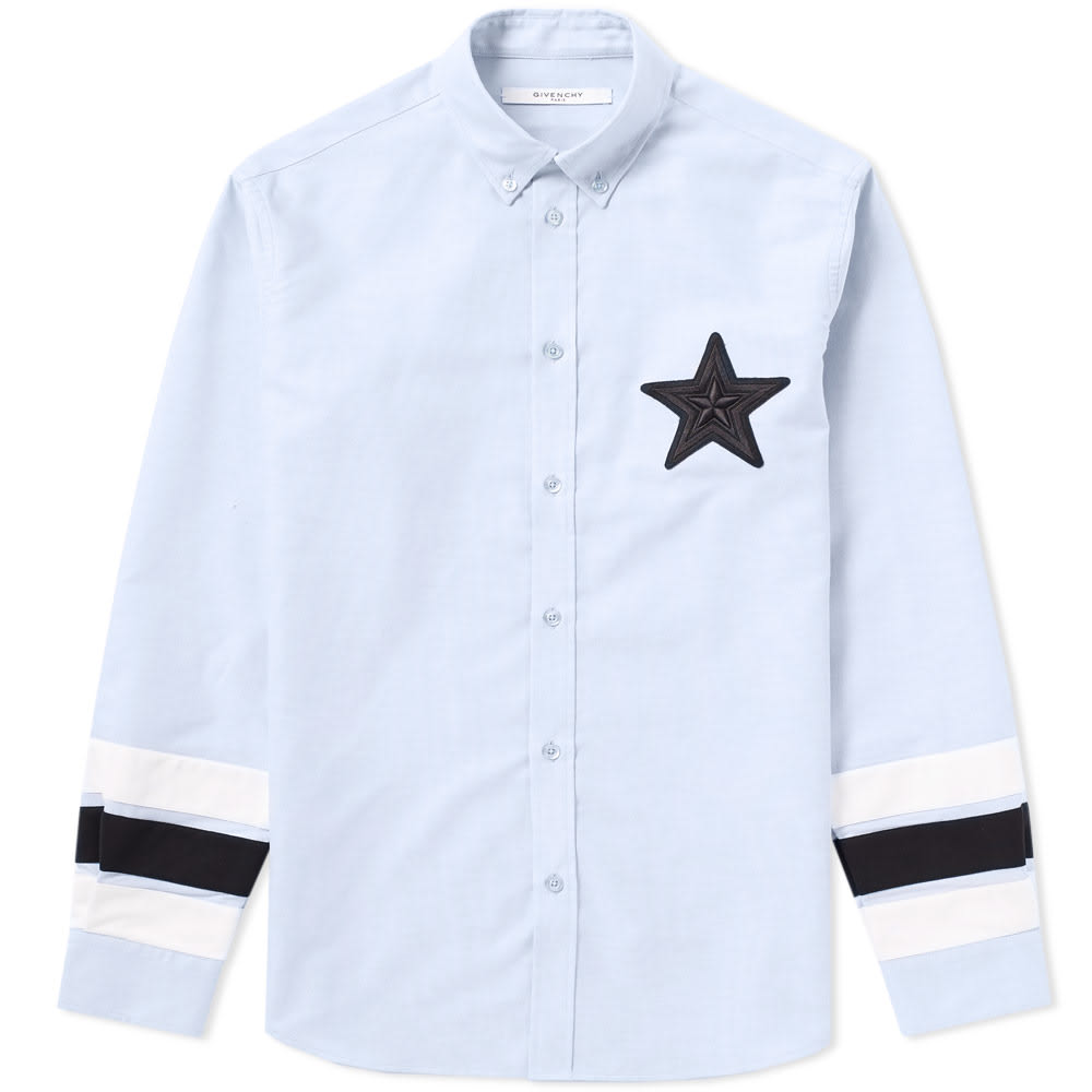 Photo: Givenchy Regular Star Embroidered Tape Sleeve Oxford Shirt