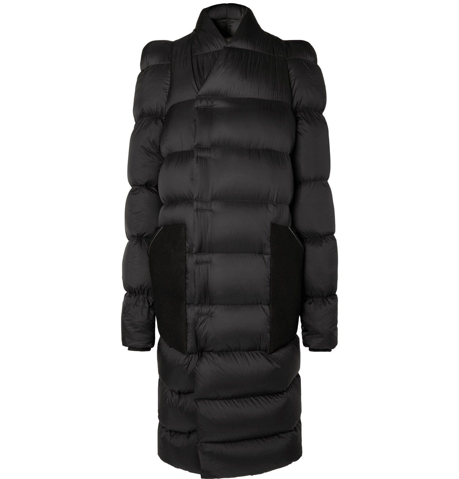 Photo: Rick Owens - Oversized Suede-Trimmed Quilted Shell Down Coat - Black