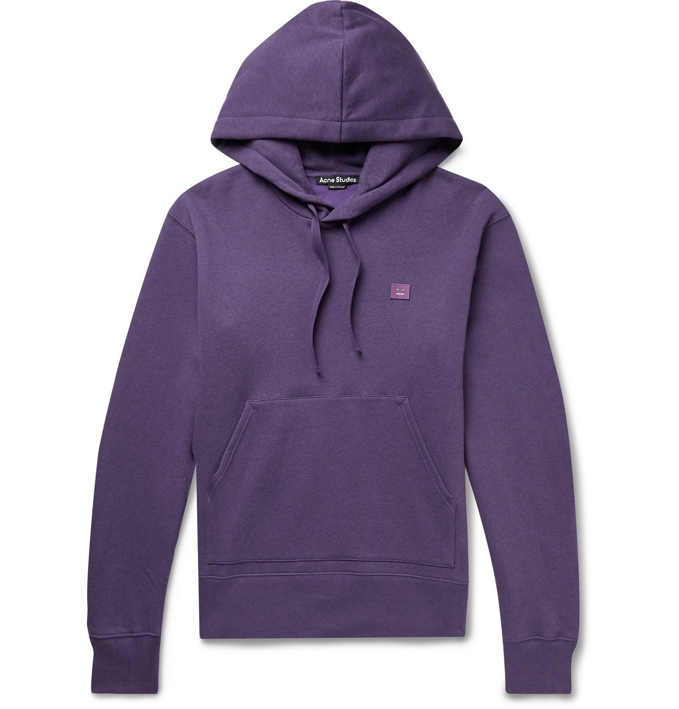 Photo: ACNE STUDIOS - Ferris Logo-Appliquéd Mélange Fleece-Back Cotton-Jersey Hoodie - Purple