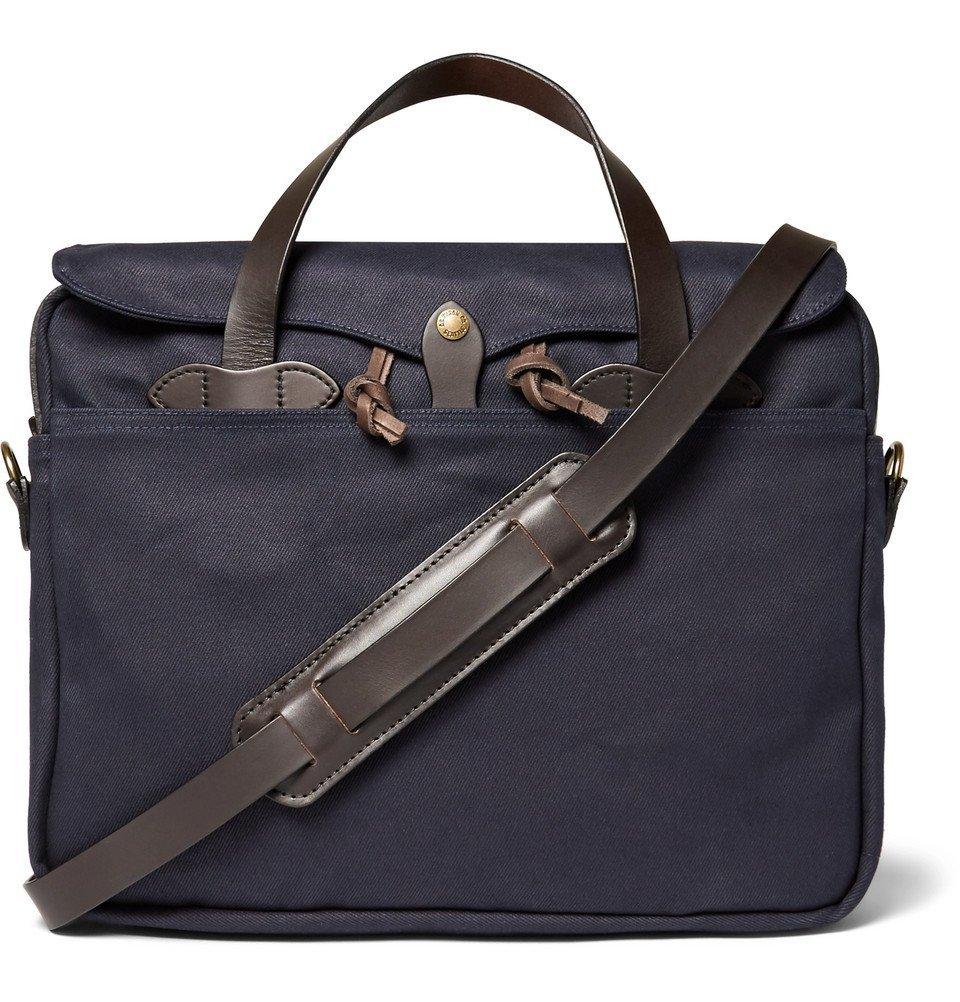 Filson - Original Leather-Trimmed Twill Briefcase - Men - Navy