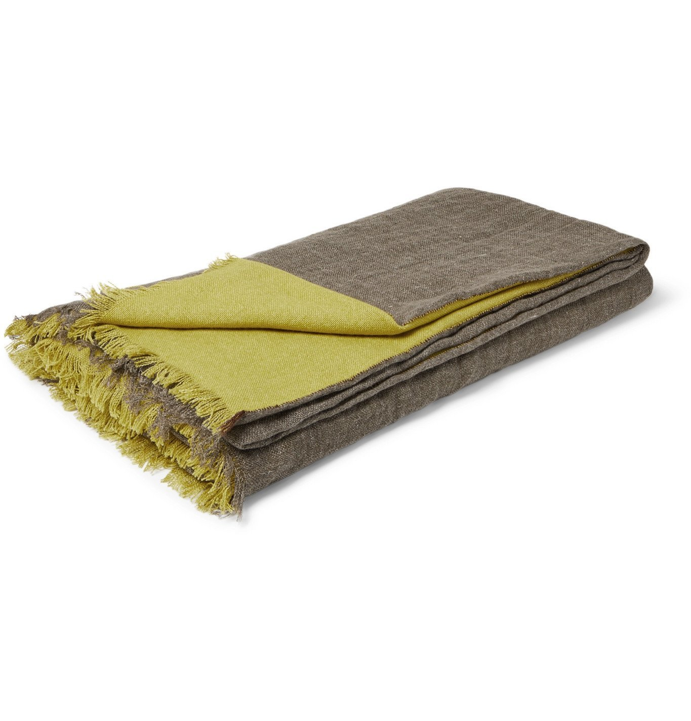 Photo: RD.LAB - Fringed Two-Tone Linen, Cashmere and Silk Blanket - Multi