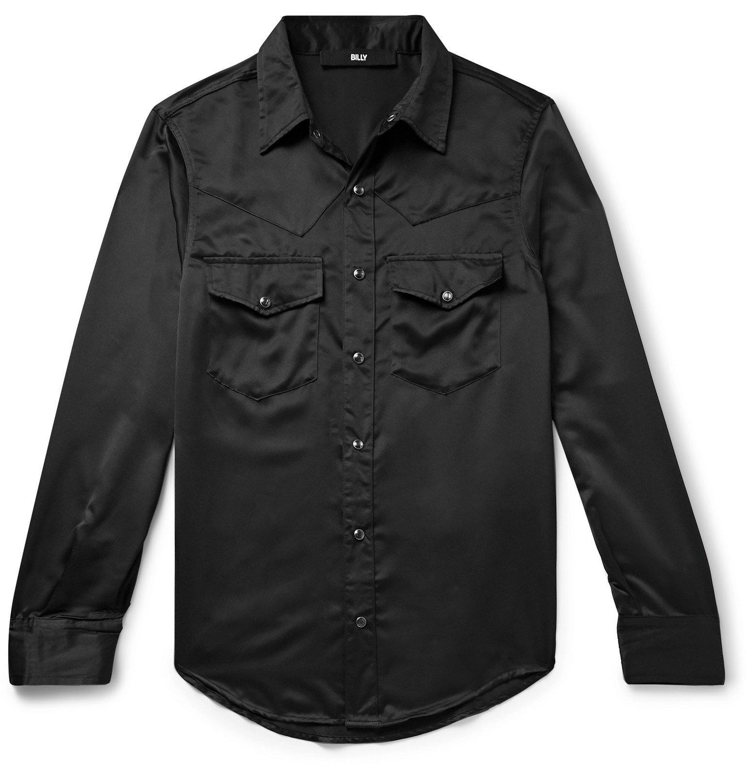 Photo: BILLY - Slim-Fit Satin Western Shirt - Black