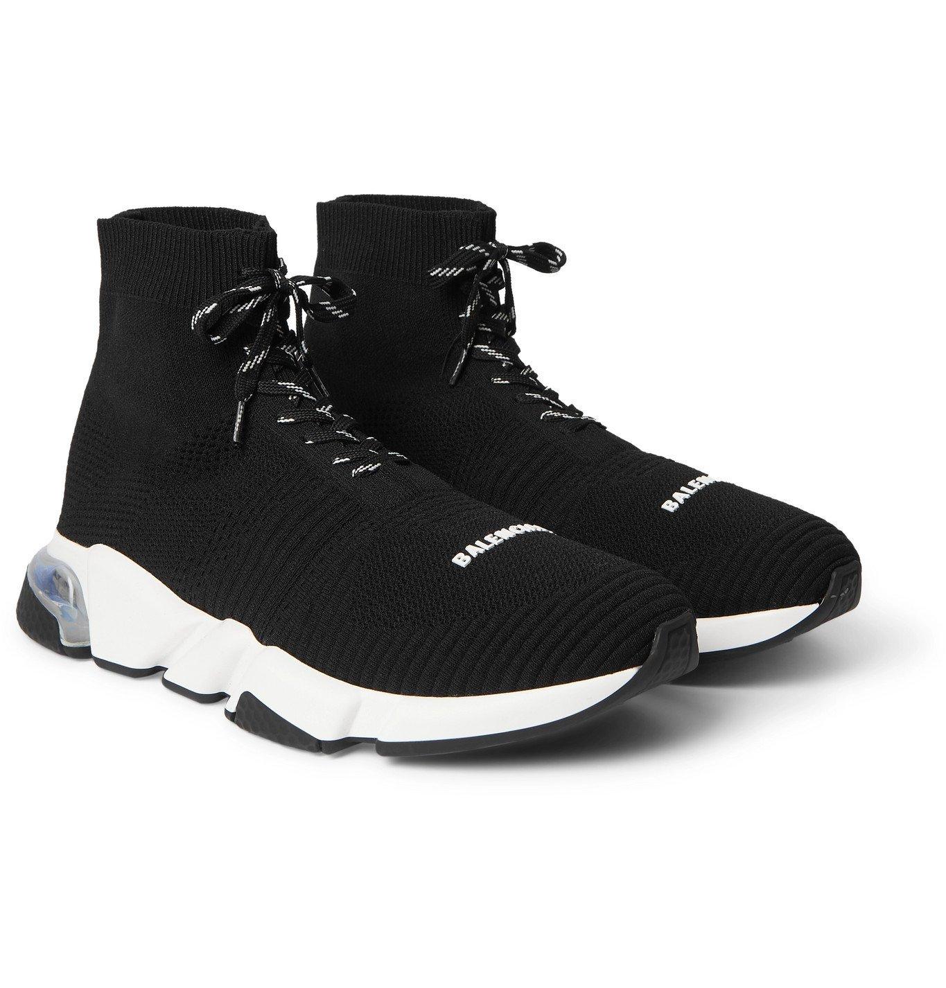 Photo: Balenciaga - Speed Stretch-Knit High-Top Sneakers - Black