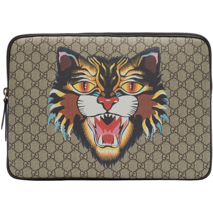 Photo: Gucci Beige GG Supreme Angry Cat Laptop Case