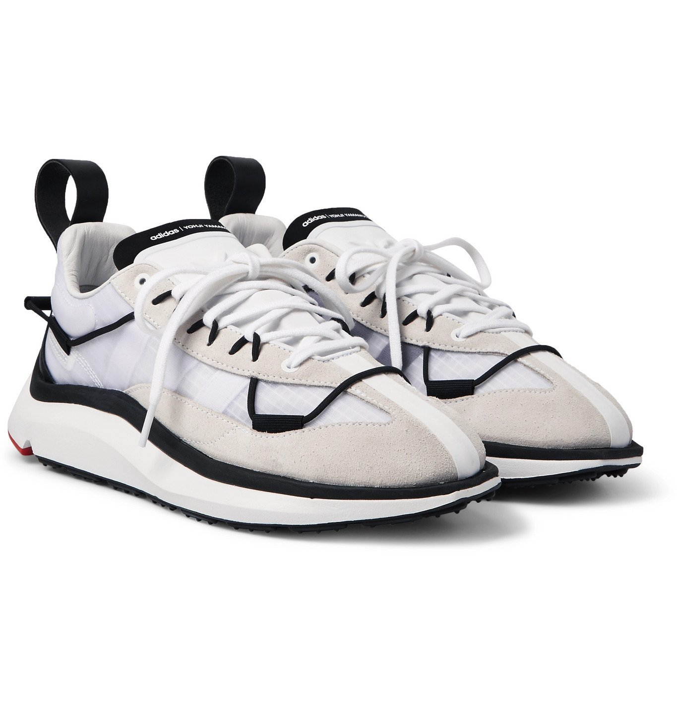 Photo: Y-3 - Shiku Run Leather and Suede-Trimmed Mesh Sneakers - White