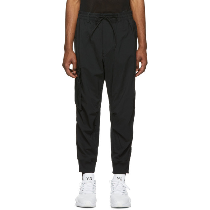 Y-3 Black Twill Cargo Lounge Pants