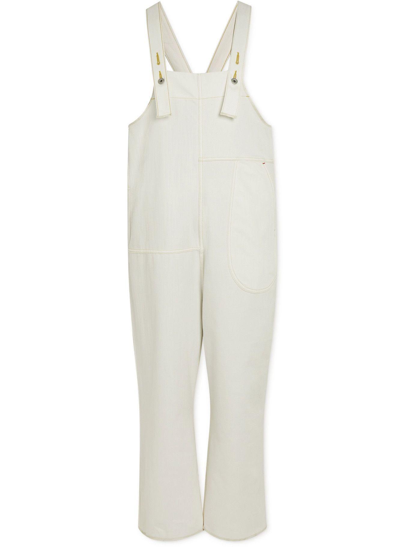 KAPITAL - Mottainai Wide-Leg Cropped Denim Overalls - White