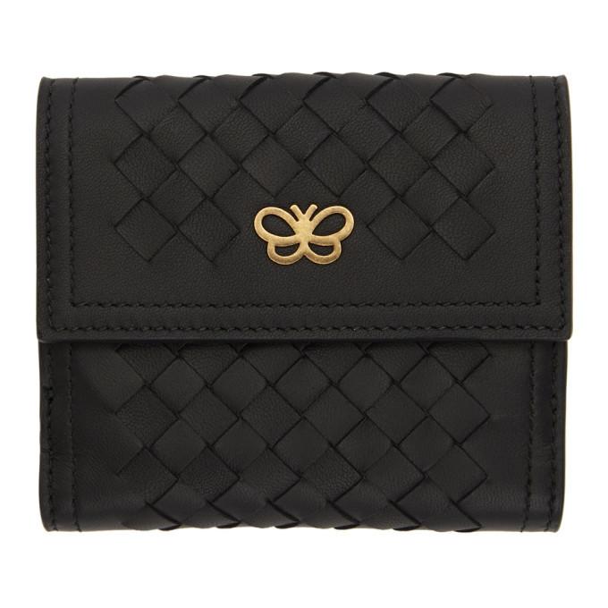 Bottega Veneta Black Intrecciato Small Flap Wallet