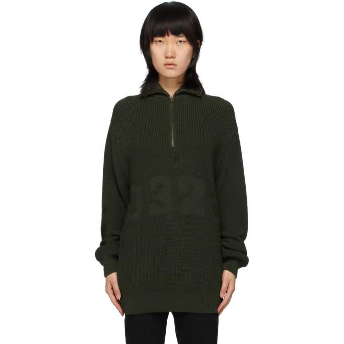 Photo: 032c Green Troyer Half-Zip Sweater