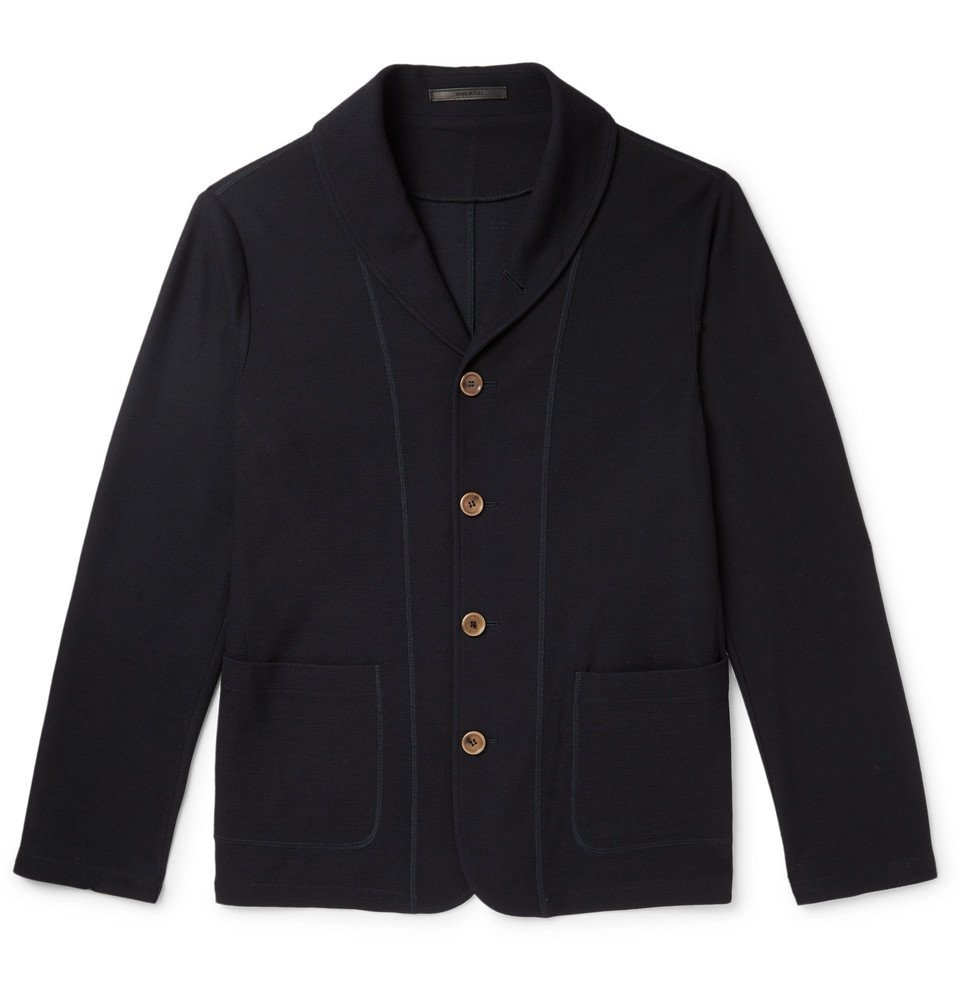 Giorgio Armani - Slim-Fit Shawl-Collar Virgin Wool Cardigan - Midnight blue
