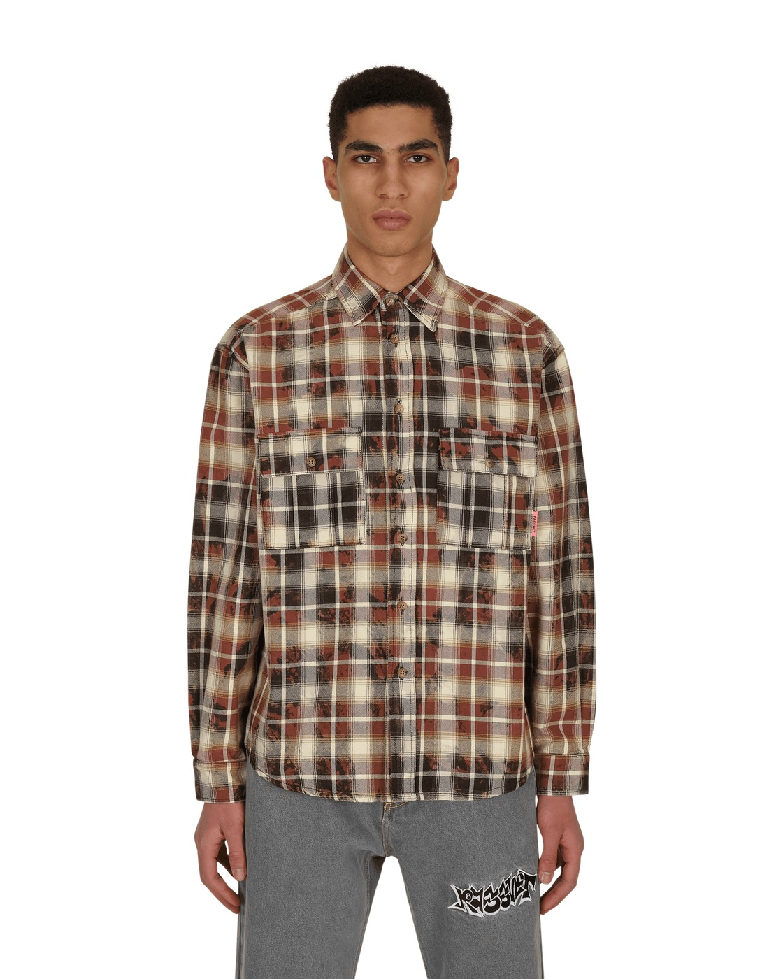 Photo: Paccbet Bleached Check Shirt Brown